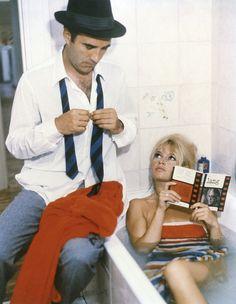 Le Mepris de Godard avec Michel Piccoli et Brigitte Bardot - Photo Camille et Paul - Photographe anonyme