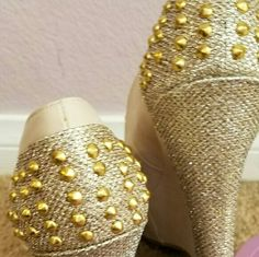Gold studded wedges Light beige wedges with gold studs and shimmery golson heel. Size 7.5. Worn once. Shoes Wedges
