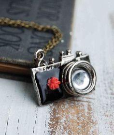 Retro CAMERA Necklace Black Vintage Camera by redtruckdesigns