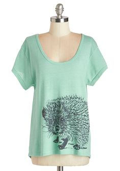 You're Looking Sharp Top. Make a point of showing off your quirky-cute style by wearing this hedgehog-printed tee by Counter Couture! #mint #modcloth