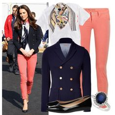 Kate in coral jeans, an Emilio Pucci blazer, LK Bennett heels. Love this inspired look. Coral Pants, Parisian Chic Style, Royal Fashion, Style Fashion, Work Fashion, Kate Middleton Style, Spring Summer Fashion, Passion For Fashion, Dress To Impress