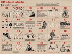 printable advent calendar in red DIY (English or French)