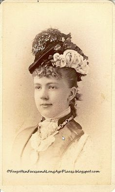 Sentimental Sunday - Women with Hats - Fashionable New York Miss ca late 1870's to early 1880's  http://forgottenfacesandlongagoplaces.blogspot.com/2012/02/sentimental-sunday-women-with-hats.html#