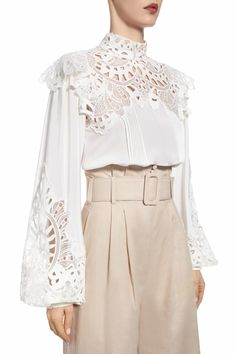 The 'Rilella' blouse is crafted from breathable linen and detailed with antique broderie anglaise. Browse more linen designs from our collection. Cut Clothes, Formal Tops, Fashion Details, Fashion Design, Diy Dress, Textiles, Blouse Styles, Hijab Fashion, Passion For Fashion