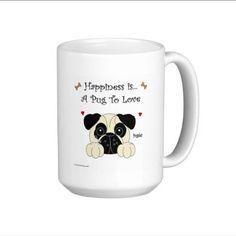 Pug Happiness Is a Pug To Love Tall 15 oz. Mug. by CCGirlsCorner