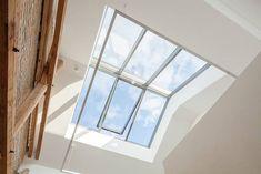 Loft, Skylight, first photo: Velux Woodworking Workbench, Woodworking Furniture, Woodworking Organization, Woodworking Hacks, Gable Window, Mansard Roof, Roof Light, Glass Roof, Loft