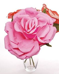 These large crepe-paper flowers add color to any room or office.