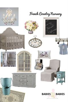 Beautiful French Country Nursery Design Board inspired by our travels.#frenchcountry #nursery