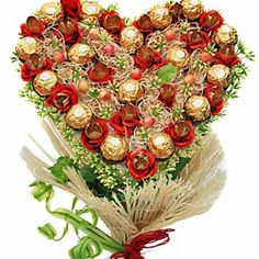 Make your love affair sweeter with this heart shaped chocolate bouquet with Ferrero Rocher chocolates beautifully wrapped with jute, white moss and green filler. http://www.tajonline.com/valentines-day-gifts/product/v3379/heart-shaped-chocolate-bouquet/?Aff=pint2014/