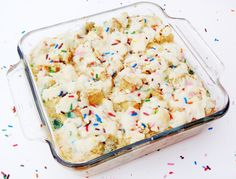 Funfetti Cake Batter French Toast Casserole {With Rainbow Chip Icing}
