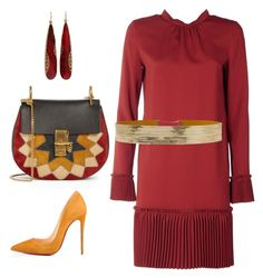 """Lady in Red"" by arta13 on Polyvore featuring Chloé, Yossi Harari, Christian Louboutin, N°21 and Rosantica"