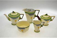 Burleigh ware Art Deco 'Dawn' pattern tea service comprising: Teapot, jug with detachable metal ccover, smaller tea pot. Andrew Smith, Small Tea, Art Deco Pattern, Floral Theme, Tea Service, Chocolate Pots, Coffee Set, Vintage China, Drinking Tea