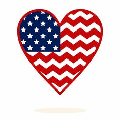 United States, Heart, Chevron Pattern, SVG, DXF, Vector Art File, Great for Cricut, Silhouette, Vinyl Cutter, Screen Printing & Monogramming...