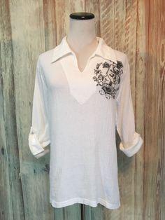 Motto DBA Clone White Cotton Gauze Tunic Shirt Graphic Roll Tab LS sz S  EUC! #Motto #Tunic