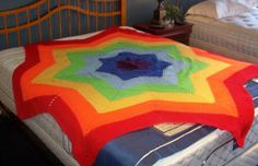 Hand Crochet 7 Pointed Star Shaped Chakra Afghan by moonflwr63,