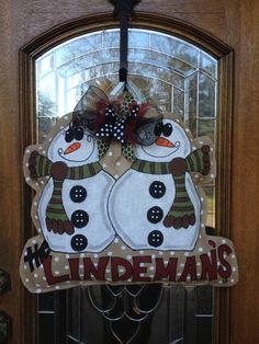 snowman family personalized burlap hanger burlap door decorations burlap door hangings burlap wall - Burlap Christmas Door Decorations