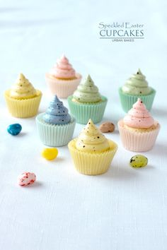 Speckled Easter Cupcakes - flour - unsalted butter - 2 eggs - milk - sugar - pure vanilla extract - powdered sugar - unsweetened or sweetened cocoa