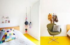 Style spotter Susanne Brandt's cheerful bedroom; via Bolig Magasinet.