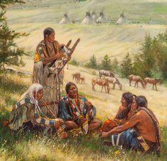 """Don Oelze (b. 1965 ). Untitled, Indian Encampment. 38"""" x 30"""" Oil on Canvas. Auction Estimate $1,500-2,500. Auction Date: June 6, 2015."""