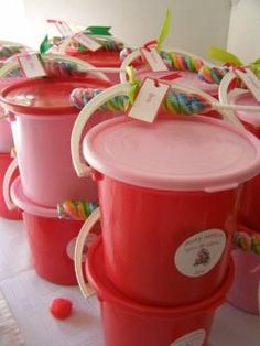 love the buckets! put strawberry kool-aid play dough in it?