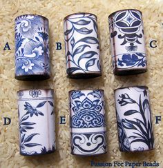 Paper Bead  Large Focal Asian Blue And White   by PassionForPaperBeads