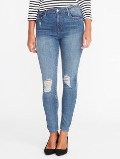 c3eb6ce29c4df High-Rise Distressed Rockstar Jeans for Women Old Navy Rockstar Jeans,  Capsule Wardrobe 2018