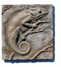 Chameleon relief plaque sculpture finished and good to go. Animal Sculptures, Wall Sculptures, Ceramic Sculptures, Wood Carving Designs, Tile Crafts, Ceramic Wall Art, Art Carved, Lowbrow Art, Sculpture Clay