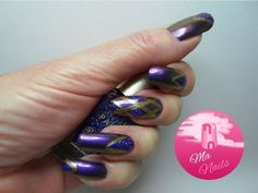 Purple Duochrome Nails with Glitter - bellashoot.com / bellashoot iPhone & iPad app