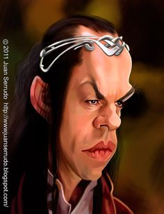 Caricatura de Hugo Weaving como Elrond.