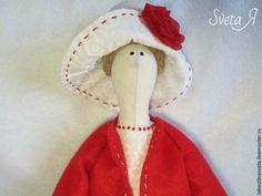 Купить Кукла тильда Леди в красном - ярко-красный, красный цвет, белый цвет