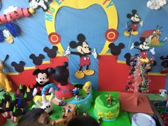 Mickey mouse clubhouse cake and favor table
