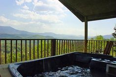 Ultra View in Gatlinburg, Tennessee: Deck w/ Hot Tub and Mtn. View