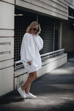 oversized sweatshirt dress + sneakers | @urbanoutfitters