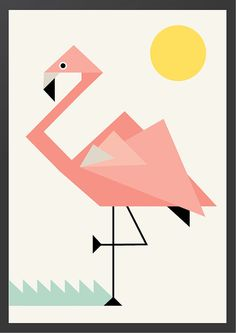 Geometric Flamingo Nursery Wall Print by MagentaDesigns