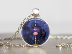 Solar System Pendant Necklace   Planet Necklace Planet Jewelry Space Jewelry Galaxy Jewelry Astronomy Jewelry Watercolor Space Grunge Cosmic by AgeOfAkuarius on Etsy