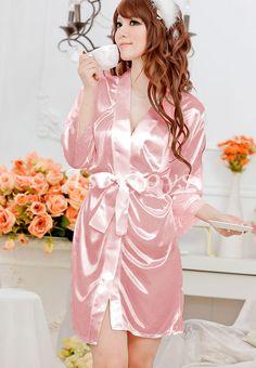 Slips Flesh Ice Silk Belt+Dress+T-string Sleepwear Set M Women Sexy Lingerie 3e1f926d1