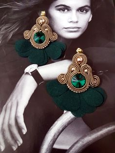 Your place to buy and sell all things handmade Soutache Necklace, Tassel Earrings, Crystal Earrings, Fabric Jewelry, Boho Jewelry, Jewelry Crafts, Great Gifts For Women, Gifts For Her, Emerald Green Earrings