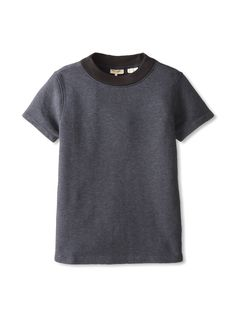 fleece tee with wide ribbed collar