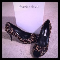 Charles David Leopard Pony Peep-Toe Pumps Beautiful, timeless style. In great condition. Custom soles have been added to extend the life of these beauties. These have only been worn a few times. Comes with box. Fits true to size. Charles David Shoes Heels