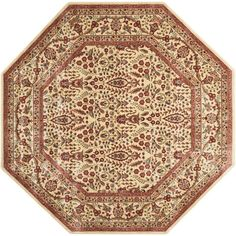 Persian Arts Ivory 7 ft. 9 in. x 7 ft. 9 in. Octagon Area Rug