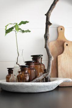 kitchen decoration with brown bottle