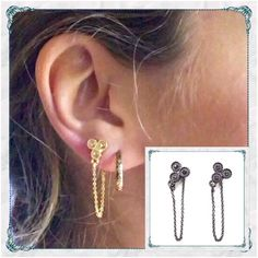🃏Gunmetal Triad Chain Earrings w/ Black Crystals 🃏Simply Elegant                                                    🌸gunmetal over brass earrings with black crystals                                                                     🌸super elegant everyday day into evening wear 🤗                                                                              🌸also available in gold w/ vintage rose colored crystals in another listing in my closet Sunahara Jewelry Jewelry Earrings