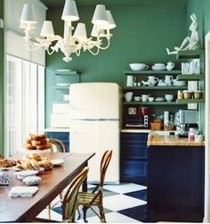 Green and blue hipster kitchen