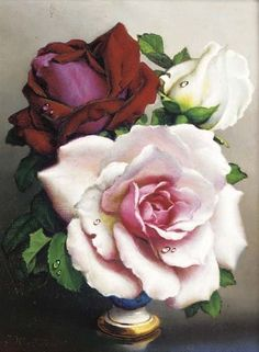 Artwork by Irene Klestova, Roses; and Another similar, Made of oil on board Romantic Roses, Beautiful Roses, Beautiful Flowers, White Roses, Pink Roses, Coming Up Roses, Love Rose, Beautiful Paintings, Rose Paintings