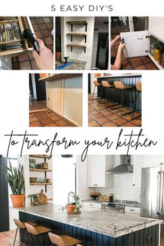 5 Easy DIY's to Transform Your Kitchen.... get started today! #diy #kitchenmakeover #beforeandafter Budget Kitchen Remodel, Kitchen On A Budget, Kitchen Ideas, Kitchen Renovation Inspiration, Kitchen Inspiration, Woodworking Furniture Plans, Home Furniture, Faux Shiplap, My Building