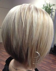 Cute angle-layered bob. Would only cut this for someone with naturally stick straight hair or someone willing to flat iron or skinny-iron each day.