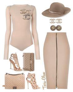 Nude Decisions by terra-glam on Polyvore featuring polyvore fashion style Maison Margiela River Island Giuseppe Zanotti Chanel Eugenia Kim clothing