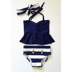 Kids Girls Bikini Suit Ruffles Navy Tops Striped Tankini Swimsuit Swimwear Swim