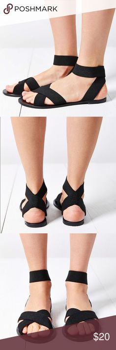 5b1141dc409 Silence + Noise Alexa Elastic Wrap Sandal Silence + Noise Alexa Elastic  Wrap Black Sandals - Brand is Silence + Noise sold at Urban Outfitters -  bottoms are ...