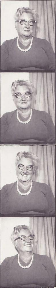 Groovy Granny - Vintage Photobooth Pictures - Older Lady With Cats Eye Glasses